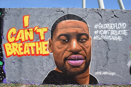 "Mural showing the portrait of George Floyd in Mauerpark in Berlin. To the left of the portrait the lettering ""I can't Breathe"" was added, on the right side the three hashtags #GeorgeFloyd, #Icantbreathe and #Sayhisname. The mural was completed by Eme Street Art (facebook name) / Eme Free Thinker (signature) on 29 May 2020."